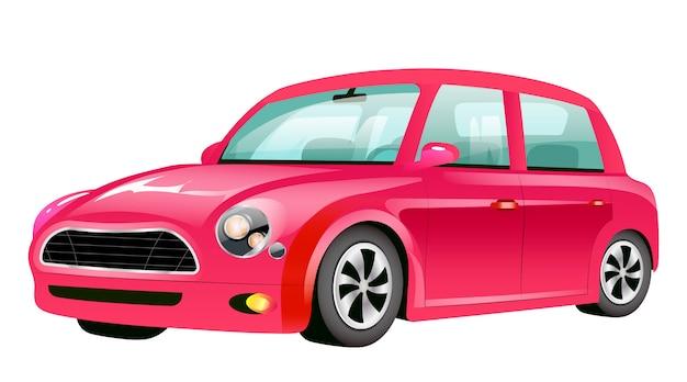 Rode mini cooper cartoon afbeelding. crimson ouderwetse automobiele kleurvoorwerp. uitstekend persoonlijk voertuig op witte achtergrond. stadsvervoer, nieuwe stijlvolle auto Premium Vector