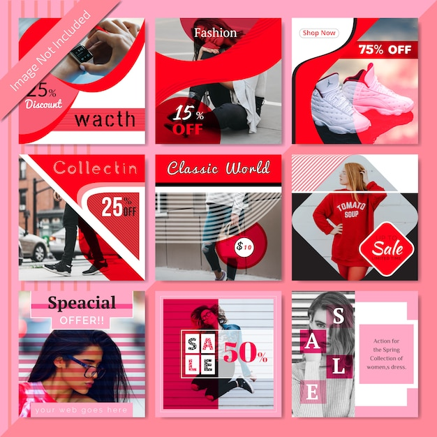 Rode mode social media post sjabloon Premium Vector