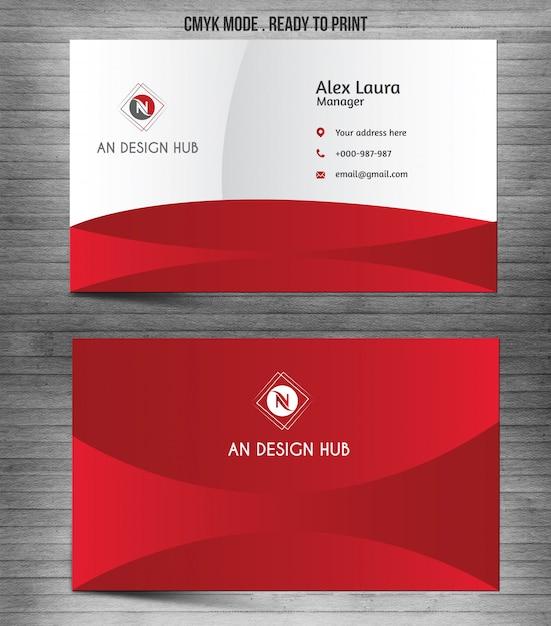 Rode moderne abstracte visitekaartjesjabloon Premium Vector