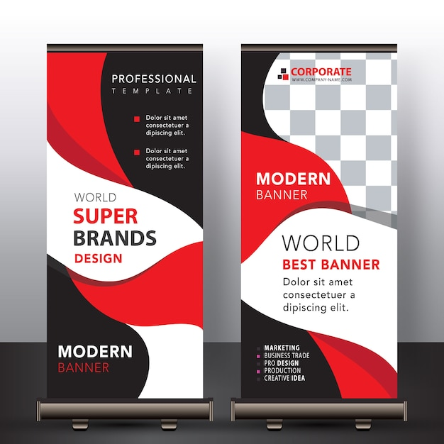 Rode moderne roll-up banner Gratis Vector