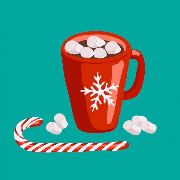 Rode mok met cacao en marshmallows Premium Vector