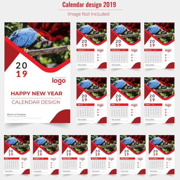 Rode muur kalender 2019 Premium Vector
