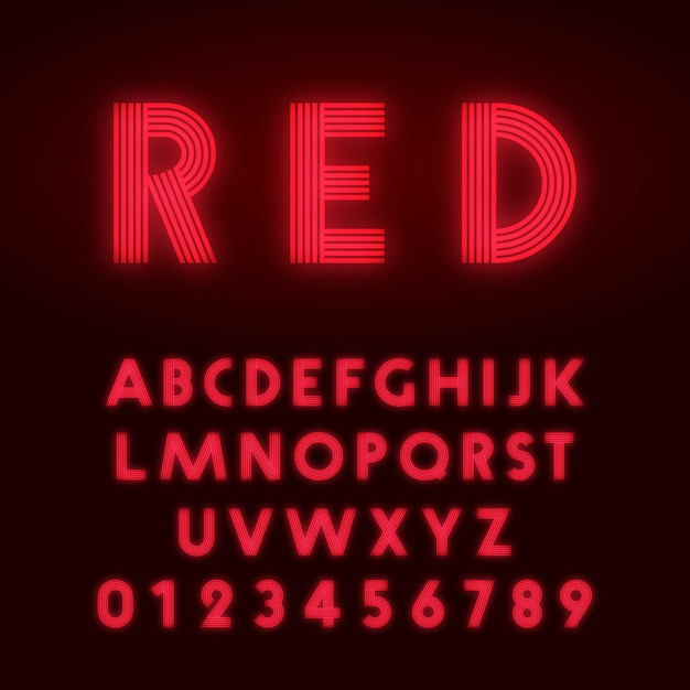 Rode neon alfabet lettertype Premium Vector