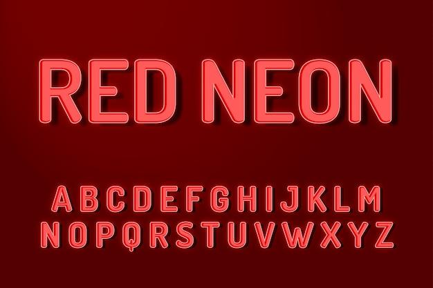 Rode neon lettertype alfabet teksteffecten Premium Vector