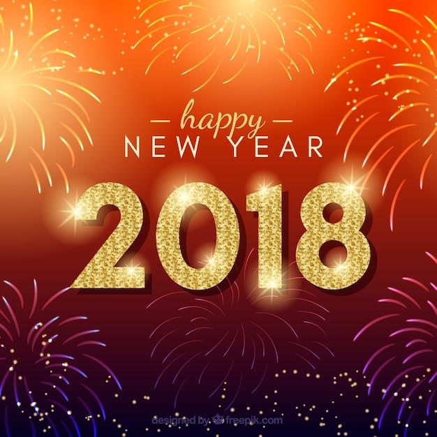 Rode nieuwe jaarachtergrond met vuurwerk Gratis Vector