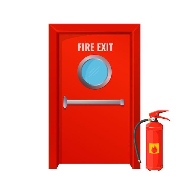 Rode nooduitgang met ronde cirkel en brandblusser. grote nooddeur in felle kleur. maatregelen om vlamverspreiding geïsoleerde cartoon te voorkomen. Premium Vector