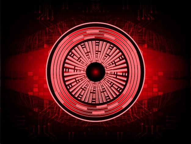 Rode ogen cyber circuit toekomst technologie concept achtergrond Premium Vector
