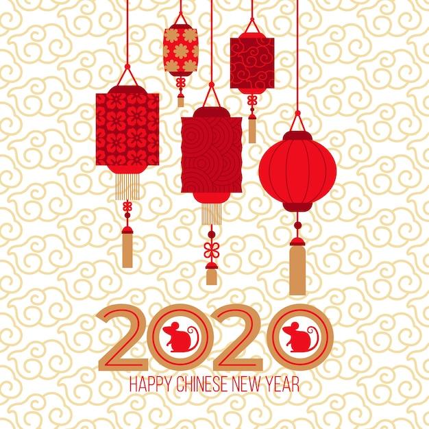 Rode papieren lantaarns voor het jaar van de rat 2020 Gratis Vector