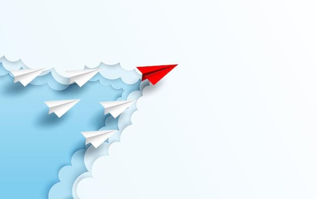 Rode papieren vliegtuigleiding naar hemel Premium Vector