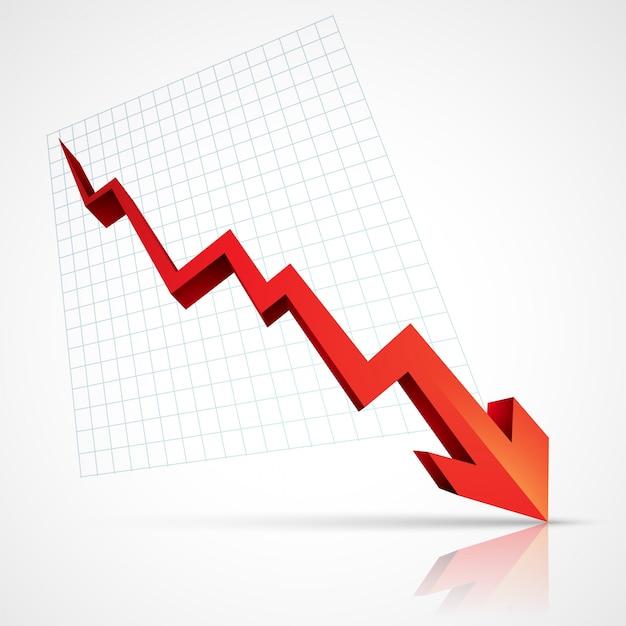 Rode pijl naar beneden wijst naar crisis Gratis Vector