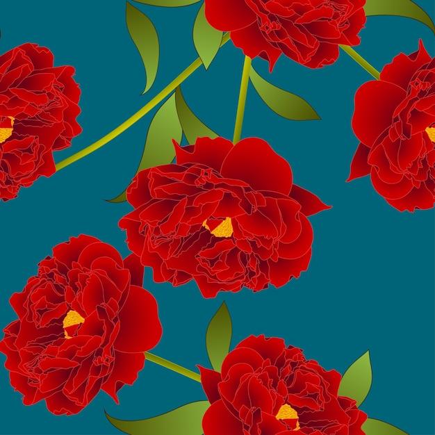 Rode pioenbloem op groenblauw indigo achtergrond Premium Vector