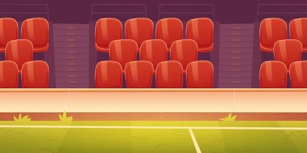 Rode plastic zetels op de tribune van het sportstadion Gratis Vector