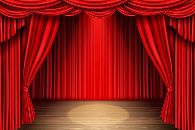 Rode podium gordijn voor theater, opera scene draperen Gratis Vector