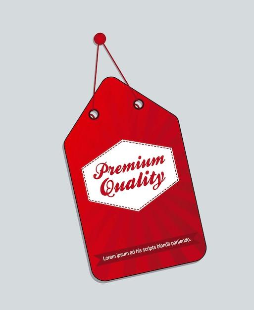 Rode premium kwaliteit label geïsoleerde vectorillustratie Premium Vector