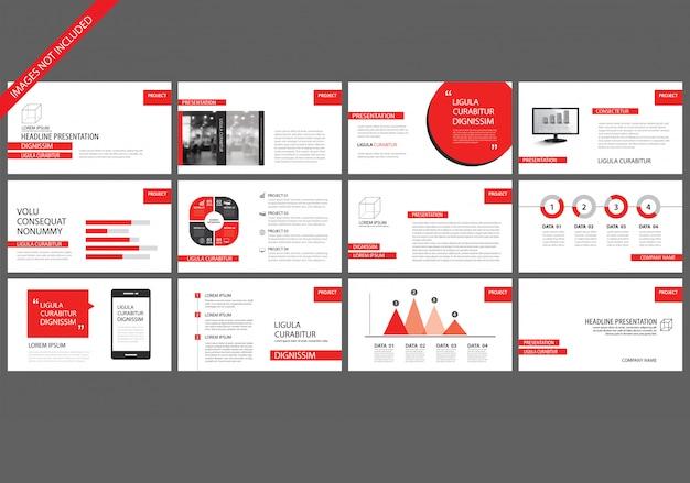 Rode presentatiesjablonen voor de achtergrond van de diavoorstelling. Premium Vector