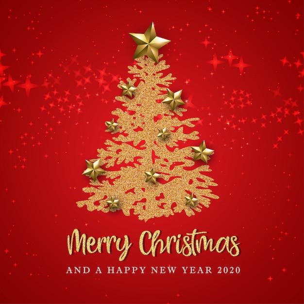Rode prettige kerstdagen en gelukkig nieuwjaar wenskaart Premium Vector