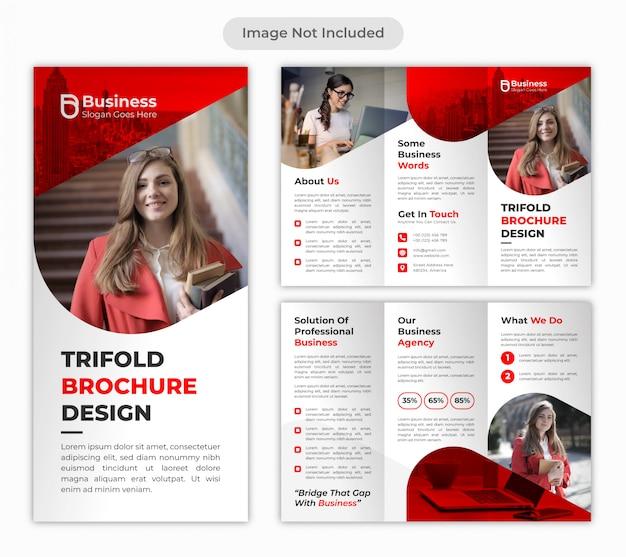 Rode professionele zakelijke gevouwen brochure ontwerpsjabloon Premium Vector