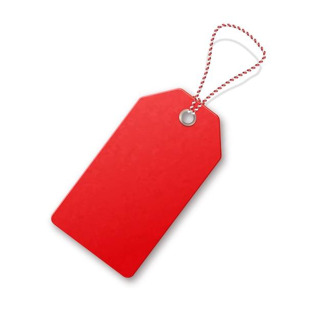 Rode realistische textuur verkoopt tag met touw. Premium Vector