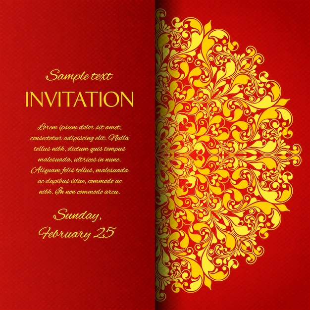 Rode sier uitnodigingskaart Gratis Vector