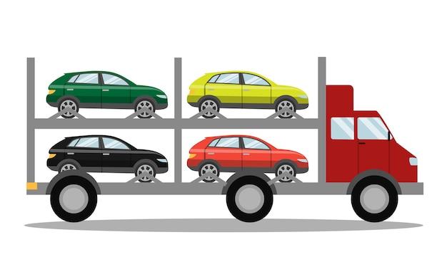 Rode sleepwagen vol met auto's. hulp bij pech onderweg. vervoer van kapotte auto's. geïsoleerde illustratie Premium Vector