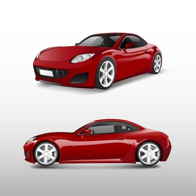 Rode sportwagen die op witte vector wordt geïsoleerd Gratis Vector