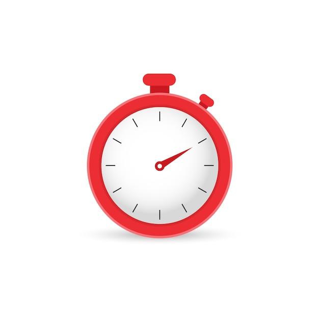 Rode stopwatch, klok. tijd Premium Vector