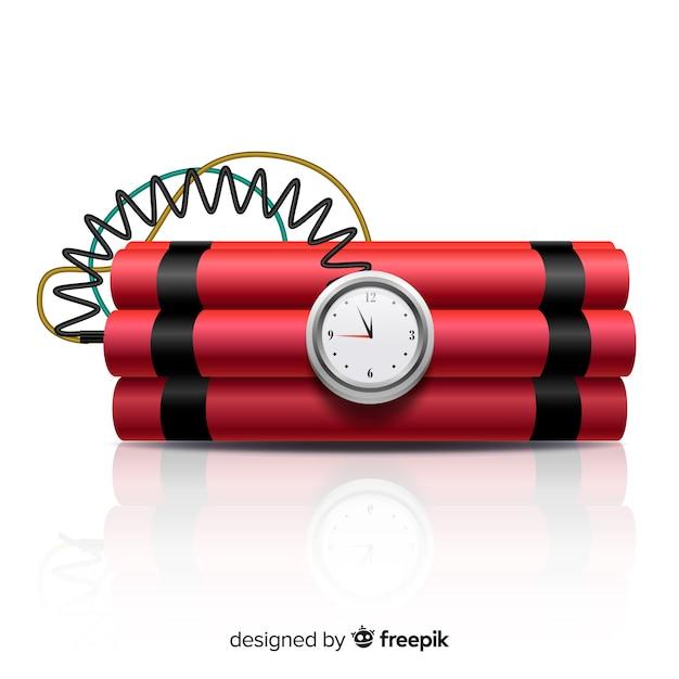 Rode tijdbom realistische stijl Gratis Vector
