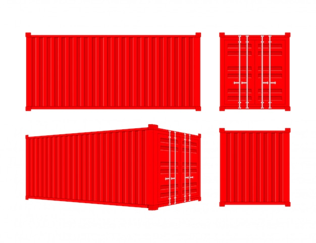 Rode transportcontainer twintig en veertig voet. voor logistiek en transport Premium Vector