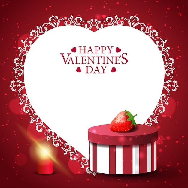 Rode valentijnsdag wenskaart met cadeau en aardbei Premium Vector