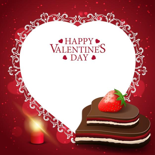 Rode valentijnsdag-wenskaart met chocoladesuikergoed Premium Vector