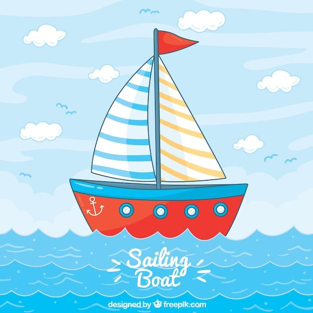 Rode varende boot achtergrond Gratis Vector