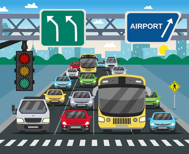 Rode verkeerslicht vlakke afbeelding Gratis Vector