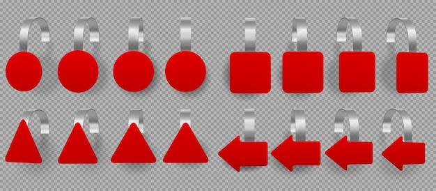 Rode verschillende vormen wobblers, prijskaartjes Gratis Vector