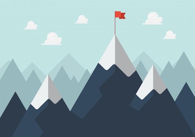 Rode vlag op een bergtop Premium Vector