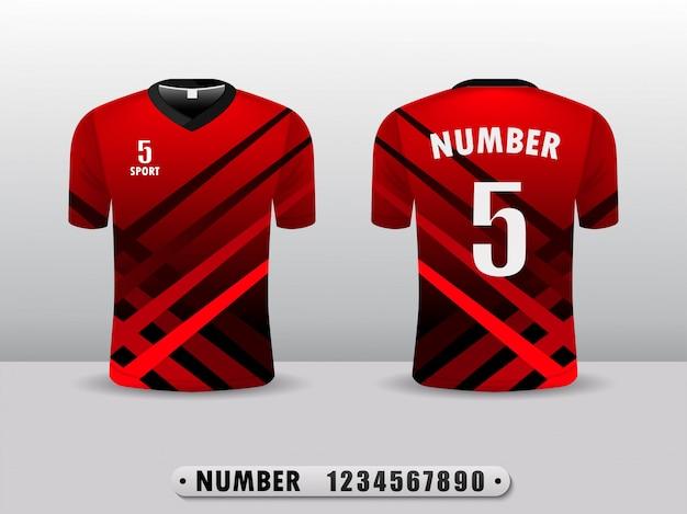 Rode voetbalclub t-shirt sport ontwerpsjabloon. Premium Vector