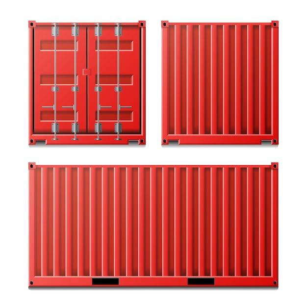 Rode vrachtcontainer Premium Vector