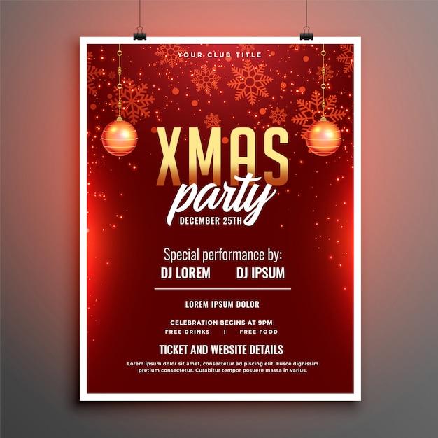 Rode vrolijke kerstfeest viering flyer poster Gratis Vector