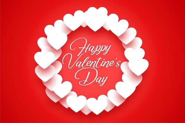 Rode wenskaart met witte valentijn harten frame Gratis Vector