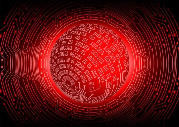Rode wereld cyber circuit toekomst technologie concept achtergrond Premium Vector