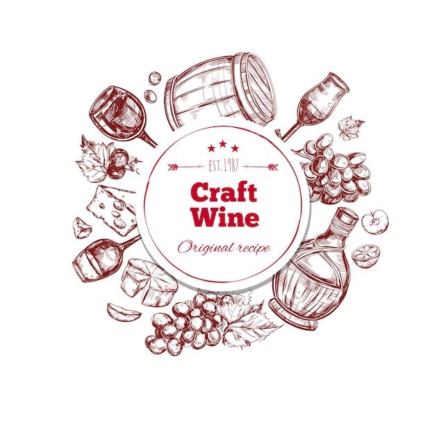 Rode wijn ambachtelijke productieconcept Gratis Vector