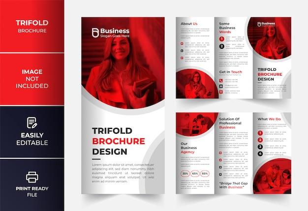 Rode zakelijke driebladige brochure ontwerpsjabloon Premium Vector