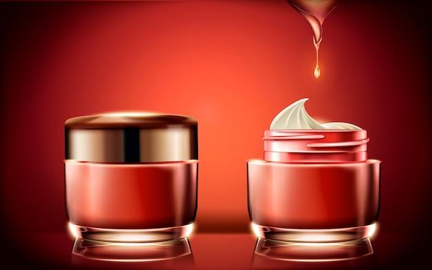 Rode zalfpotje, leeg kosmetisch containermalplaatje voor gebruik met roomtextuur in illustratie, gloeiende rode achtergrond Premium Vector