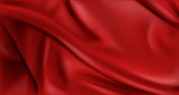 Rode zijde gevouwen stoffenachtergrond, luxetextiel Gratis Vector