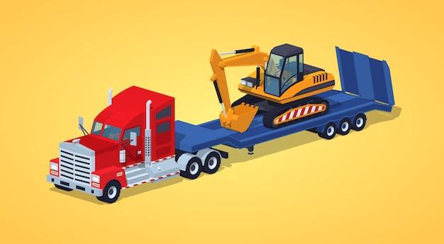 Rode zware vrachtwagen met geel graafwerktuig op de blauwe dieplader Premium Vector