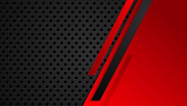 Rode zwarte abstracte metalen frame lay-out ontwerp tech innovatie concept achtergrond Premium Vector