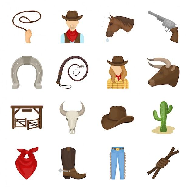 Rodeo cartoon ingesteld pictogram. westerse geïsoleerde cartoon ingesteld pictogram. illustratie rodeo. Premium Vector