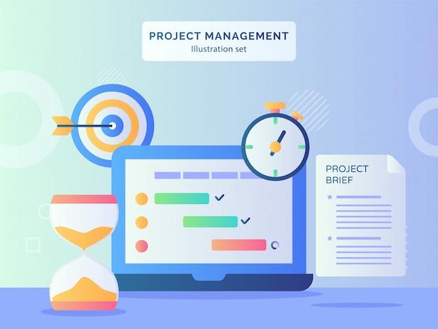 Roject management illustratie set programma checklist op display monitor laptop nabijgelegen zandloper stopwatch project kort papieren doel doel met vlakke stijl Premium Vector