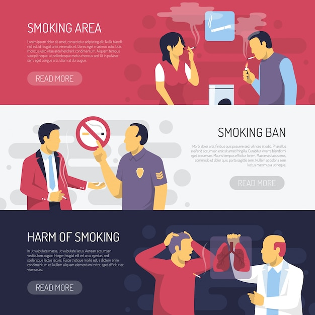 Roken gezondheidsrisico's horizontale banners Gratis Vector