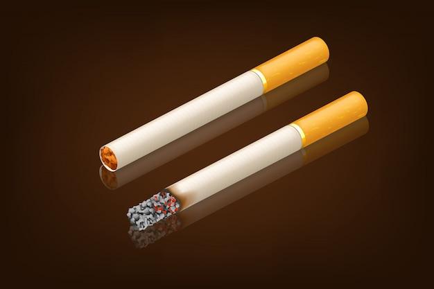 Roken sigaret nieuw en gerookt Premium Vector