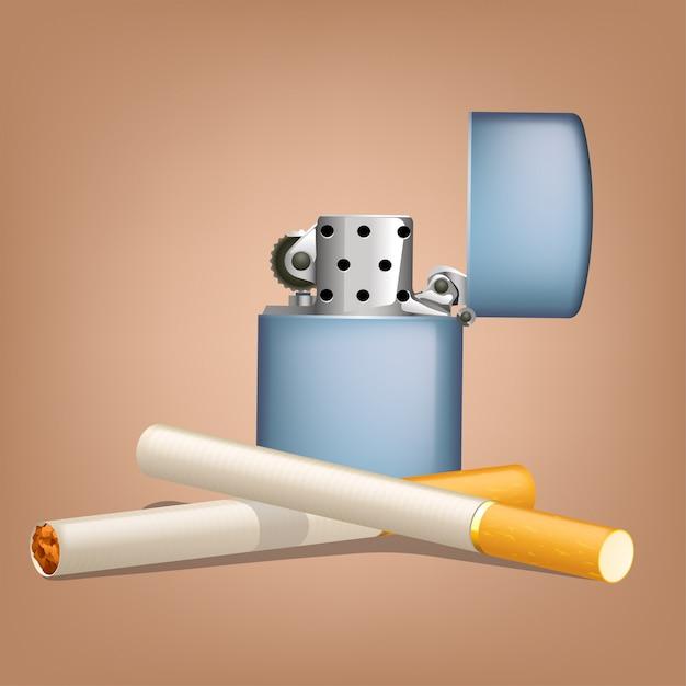 Roken van sigaretten met zippo Premium Vector